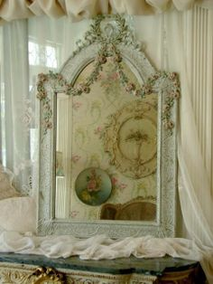 Ornate, Vintage Mirror~Love the hand painted rose garland carving draping down~Would be so gorgeous in the perfect spot~❥