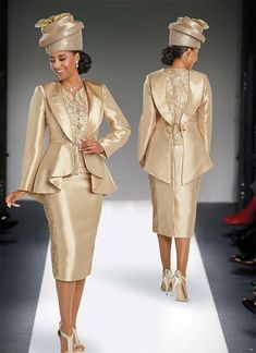 Donna Vinci 11744 Silk Look Peplum Jacket & Skirt Set With Gold Trimmings Church Suits And Hats, Women Church Suits, Suits For Women, Ladies Suits, Church Hats, Latest African Fashion Dresses, African Print Dresses, African Print Fashion, Dress And Jacket Set
