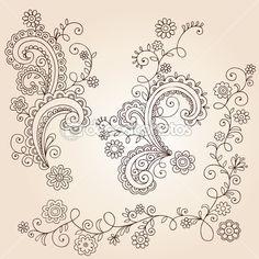 Henna mehndi paisley fleurs et vignes doodle vector design — Illustration #8247925