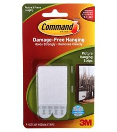 3M Command damage free MEDIUM picture and frame hanging strips 4pk ref: 17201