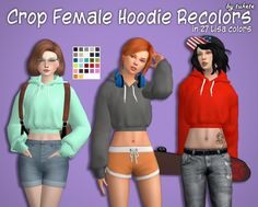 Tukete: Crop Hoodie Recolors • Sims 4 Downloads
