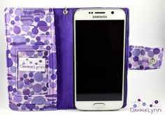 Samsung Galaxy S6 Purple Dots Wallet Case by DawnieLynnCrafts