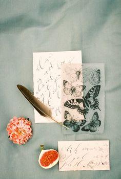 Свадебная полиграфия для летней съемки утра невесты. Дополнена винтажными иллюстрациями и разными видами бумаги