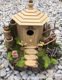 Whimsical birdhouse decor fairy garden gift by BsCozyCottageCrafts