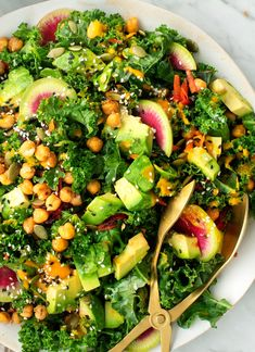 Kale Salad with Carrot Ginger Dressing Recipe – Love and Lemons This rainbow kale salad is the healthiest make-ahead lunch! Doused in a delicious carrot-ginger dressing, it's topped with crispy chickpeas, avocado, pepitas, and root veggies. Carrot Ginger Dressing, Carrot And Ginger, Kale Salad Recipes, Vegetarian Recipes, Healthy Recipes, Kale Salads, Beet Recipes, Winter Salad Recipes, Ramen Recipes