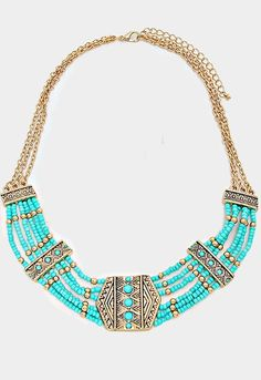 Tribal Chevron Beaded Boho Collar Necklace Beautiful mint colored beads with gold accent spacers. Multi row beads attached by gold chains. Trendy bohemian sty
