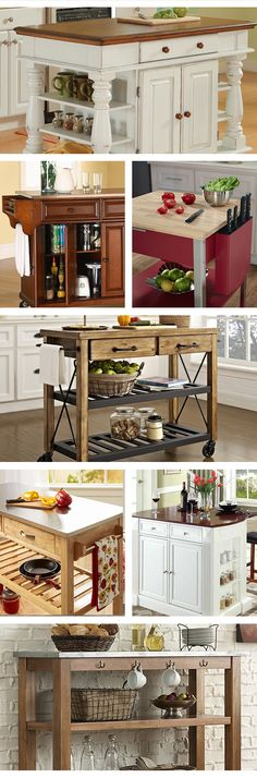 Need additional workspace and storage in your kitchen without undertaking an expensive and lengthy renovation? A portable kitchen island or cart may be your answer. Portable Kitchen Island, Cocina Diy, Table Vintage, Kitchen Redo, Cheap Kitchen, Kitchen Carts, Kitchen Ideas, Order Kitchen, Kitchen Layout