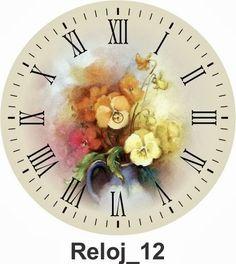 TODO EN MANUALIDADES: 10 láminas decoupage de relojes para imprimir Vintage Ephemera, Vintage Postcards, Creative Arts Studio, Clock Flower, Face Template, Rose Art, Decoupage Paper, China Painting, Free Prints