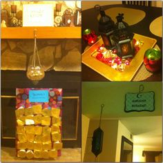 Ramadan decor details throughout the house including dining table center piece, entryway sign and fanoos, and our Ramadan countdown calendar in front of the fireplace (a little bit in disarray bc we've already counted down 15 days lol)
