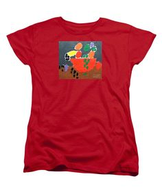 Purchase a women's Red Designer t-shirt featuring the image of Bowl Of Fruit 2014 by Patrick Francis.  Available in sizes S - XXL.  Each womens t-shirt is printed on-demand, ships within 1 - 2 business days, and comes with a 30-day money-back guarantee.