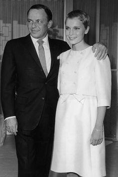 Frank Sinatra and Mia Farrow  -  1966  41 Insanely Cool Vintage Celebrity Wedding Photos