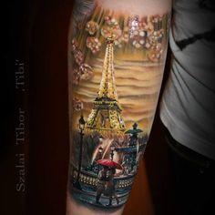 Paris Eiffel Tower love romance tattoo  Beautiful work by Szalai Tibor Tibi - @tibitattooart on collector @christinazipfel #savemyink Done at Tattoo Convention Dortmund.