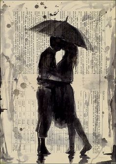 Kiss in the rain    Best Valentines gift PRINT OF Original Ink Drawing  Signed by the artist AUTHOR OF ARTWORK: Emanuel M. Ologeanu (European Artist, born