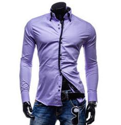 New men's double collar access hot colors leisure square buckle long sleeved shirts