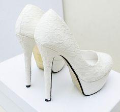 Barato 2015 brancos de salto alto sapatos com plataforma vestido sapatos de noiva sapatos de casamento de boa qualidade por atacado grátis frete, Compro Qualidade Bombas diretamente de fornecedores da China:               2014 branco sapatos de salto alto com plataforma vestido sapatos de noiva sapatos de casamento de boa qual