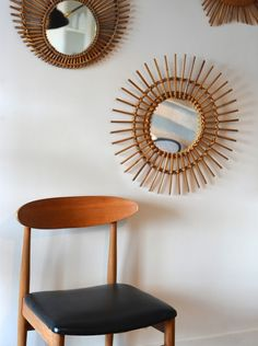 Rattan mirror 1960s / Danish chair Wegner style | A Life Before