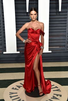Vanity Fair Oscars party - Alexandra Ambrosio wearing Ralph and Russo.