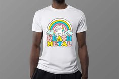 Death Metal Funny Rainbow Unicorn Novelty TShirt Unicorn Tee | Etsy