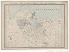 Plan topographique et hydrographique du Port, de la Ville et des Environs de Marseille. Echelle de 18. 000 / Gravé par F. Delamare