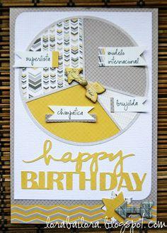 Scheda di compleanno. Sfida 3Flowers piazza rotonda