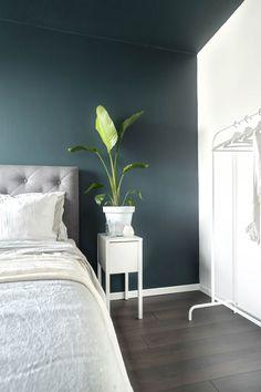 De achterwand en het plafond in Licetto Steel Blue, zijwand Licetto Silk White