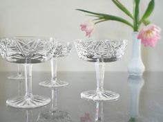 Vintage Champagne Glasses Mid Century Waterford by vintagebiffann, $120.00