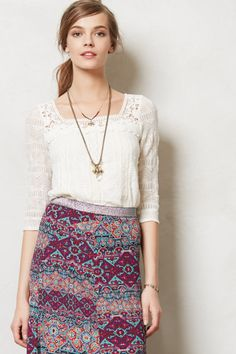 Lace Melange Top - Anthropologie.com - not so much the skirt