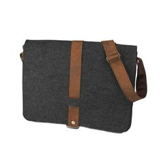 Dark grey felt bag with the brown belt. Very useful at work!
