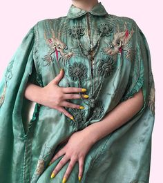 Sold On Layaway Rare 1920s Silk Phosphorescent Phthalo Green
