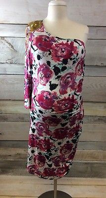 New! Baby Phat Women's Plus Pink Floral One Shoulder Dress Size 1X
