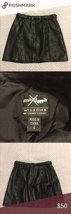 Maxima Wilson's Black Leather Mini Skirt 4 Maxima Wilson's Mini Skirt Black Leather Size 4 Belted Fully lined Side zipper Wilsons Leather Skirts Mini Black Leather Mini Skirt, Leather Mini Skirts, Black Denim Shorts, Gym Shorts Womens, Zipper, Best Deals, Womens Fashion, Closet, Things To Sell