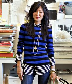 I like this idea of layered stripes. Really, you could do it with other patterns, too, like hounds tooth, polka dots, etc.