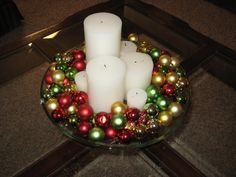 Christmas Centerpieces with Candles | , Simple Christmas Centerpieces Design Ideas: Cute White Candle ...