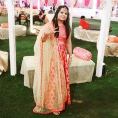 Wedding outfit ❤️.... Chanderi stuff blouse, tanchui stuffed beautiful lehenga & golden colored net dupatta with beautiful lace...