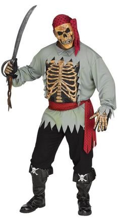 Halloween Outcast capitaine fardée Costume Homme Pirate Fancy Dress Outfit 16376