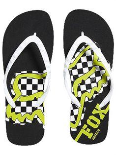 Black, green and white, Fox flip flops.