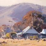 Sketch - Valley Homestead 25 x 10 © Copyright John Wilson Painting Gallery, Art Gallery, Watercolors, Watercolor Paintings, Wilson Art, Australian Artists, Blue Mountain, Any Images, Landscape Paintings