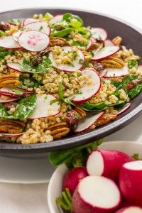 Cold Radish and Pecan Farro Salad with Dried Cranberries