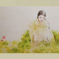 #곧콘서트#오늘도#아이유#양파껍질 + 커피 염색 #분채#한국화#해수#보고싶다#보보경심려 #아트#fanart #팬아트 #art #nawden #drawing #iu#painting #감사합니다❤️