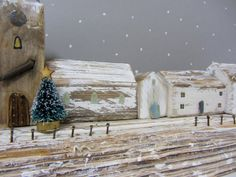 Christmas driftwood cottage sculpture with by Beyondthecowshed
