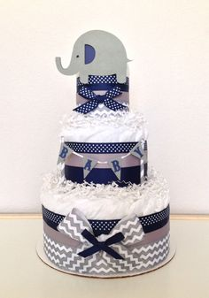 Lil Peanut Elephant Diaper Cake Colors: Chevron Gray, Navy and White