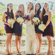 Beautiful winery wedding with lots of pretty purple details. {Photography by IQ Photo}