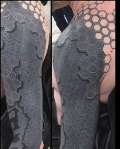 Guy With the Robot Tattoo: Futuristic Body Art The tattoo is a series of dots arranged to resemble multiple layers of a carbon-fiber shell. It was designed by Southport, England tattoo artist Tony Booth, who runs Dabs Tattoo with his wife, Lisa. Tattoos Masculinas, Black Tattoos, Body Art Tattoos, Tatoos, Black Work Tattoo, Time Tattoos, England Tattoo, Biomech Tattoo, Tattoo Geometrique
