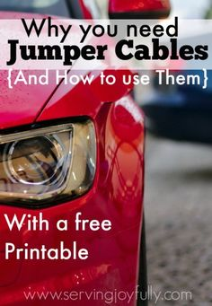 Great little tutorial with a free printable. Never forget the proper way to jump a car.