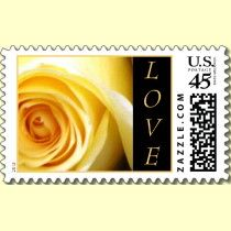 Yellow Rose LOVE Postage Stamps