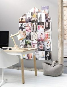 DIY wall decoration: pictures or magazine pages in the shape of a house