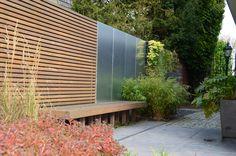 Garden Design Ideas : greenART houten scherm per strekkende meter cm hoog) Gravel Garden, Garden Fencing, Outdoor Plants, Outdoor Gardens, Outdoor Decor, Porches, Garden Sitting Areas, Landscape Design, Garden Design