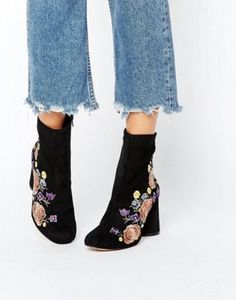 River Island Embroidered Heeled Ankle Boot