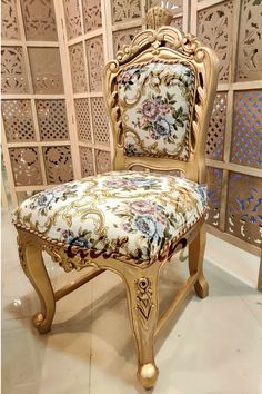 Antique Gold Wooden Chair Design - Aarsun International shipping available Crafted designs with beauty… Shop now to visit our Webpage: Luxury Dining Chair, Dining Chairs, Wooden Dining Set, Chair Design Wooden, Design Crafts, Vanity Bench, Woodworking Crafts, Antique Gold, Accent Chairs