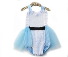 Onderland Alice in Wonderland Inspired Light Blue Tutu Sparkle Romper! Only at Belle Threads! Baby and Toddler Halloween Costume